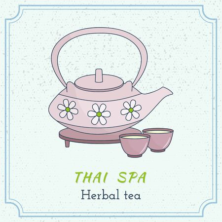 buddism: Hand drawn teapot and cups. Branding identity elements on grange background. Concept for beauty salon, massage, cosmetic and spa. Isolated high quality graphic. Easy to use business template. Illustration