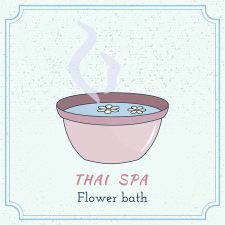 buddism: Hand drawn foot bath with flowers. Branding elements on grange background. Concept for beauty salon, massage, cosmetic and spa. Isolated high quality graphic. Easy to use business template.