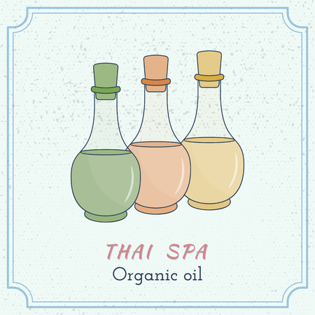 oriental medicine: Hand drawn bottles of spa oils, branding identity elements on grange background. Concept for beauty salon, massage, cosmetic and spa. Isolated high quality. Easy to use business template.