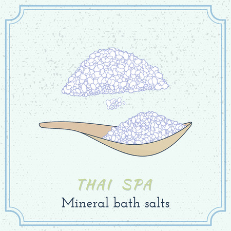 Sea salt on wooden spoon. Hand drawn branding identity elements. Concept for beauty salon, massage, cosmetic and spa. Isolated high quality graphic. Easy to use business template.
