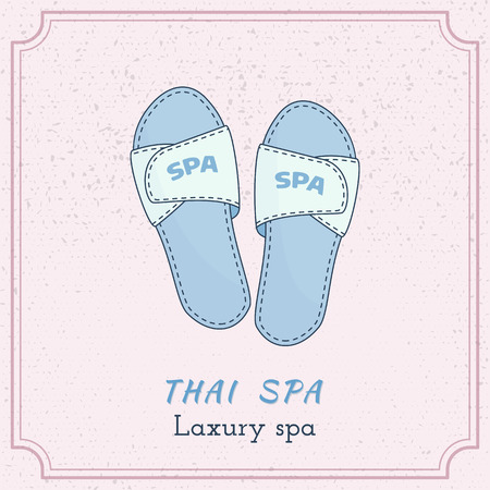 Hand drawn spa, hotel slippers, branding identity elements on grange background. Concept for beauty salon, massage, cosmetic and spa. Isolated high quality graphic.