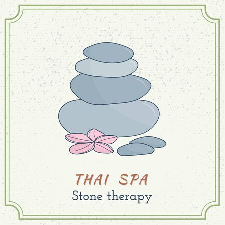 oriental medicine: Hand drawn therapy stones and flower. Branding elements on grange background. Concept for beauty salon, massage, cosmetic and spa. Isolated high quality graphic.  Illustration