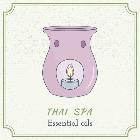 essential oil: Hand drawn candle essential oil diffuse. Branding identity elements. Concept for beauty salon, massage, cosmetic and spa. Isolated high quality graphic.