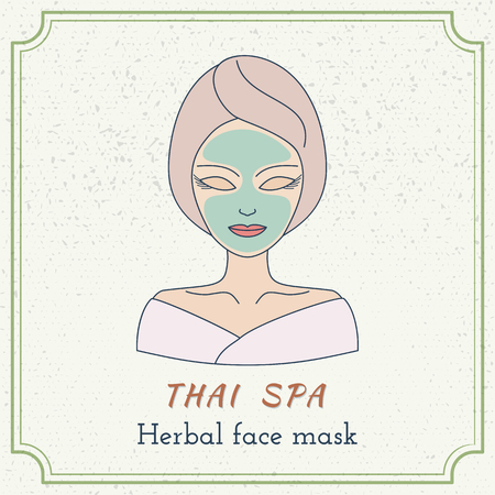 Hand drawn beautiful woman with facial mask. Branding identity elements. Concept for beauty salon, massage, cosmetic and spa. Isolated high quality graphic.