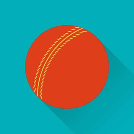 game equipment: Cricket ball flat icon. Colored flat image with long shadow on green background. Cricket game equipment, flat icons composition. Professional sport theme. Unique, modern style. Illustration
