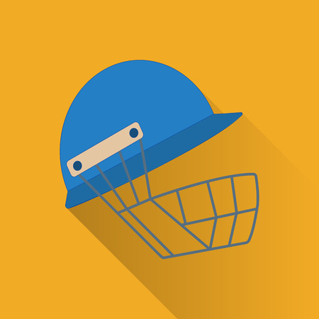 cricket game: Cricket helmet flat icon. Colored flat image with long shadow on yellow background. Cricket game equipment, flat icons composition. Professional sport theme. Unique, modern style.