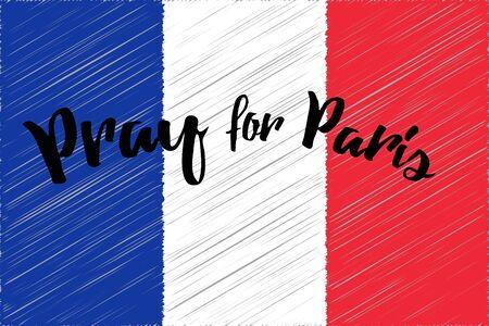 stronger: France national flag. Pray for Paris. Vector illustration Illustration