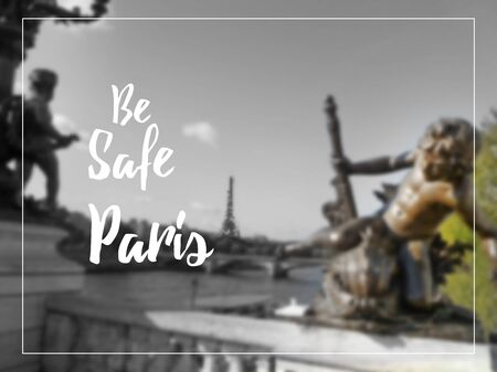 stronger: Pray for Paris on blurred background.  Paris Street with a view on Eiffel Tower. Illustration