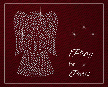 praying angel: Pray for Paris. Shimmering diamond luxury praying angel. Template with a glamour design element and a place for your text.