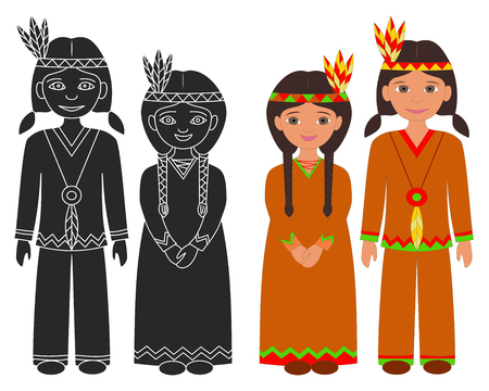 american history: Hand drawn Native American Indian boy and girl. Thanksgiving isolated graphic elements on white background. Flat color design and black silhouette icons. Illustration