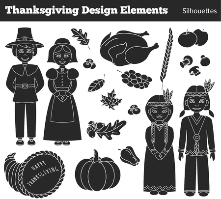 pilgrim costume: Set of hand drawn Thanksgiving silhouette icons on white background.  American Indians, Pilgrims, cornucopia, turkey, mushrooms, apple, leaves, pepper, pear, cranberries, grapes. Stock Photo