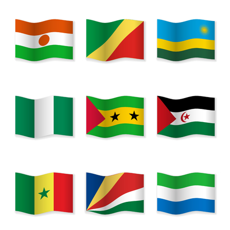 sahrawi arab democratic republic: Waving flags of different countries. Flag icons on white background. Vector content. 3D waving position with shadow. Each flag is isolated on its own layer with the proper name. Set 17.