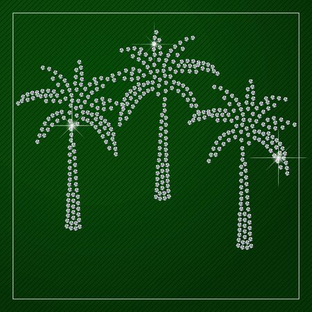 crystal background: Shimmering diamond luxury palm trees. Template with a glamour design element and a place for your text. Branding identity, logo design concept. Clean, modern and elegant style design.