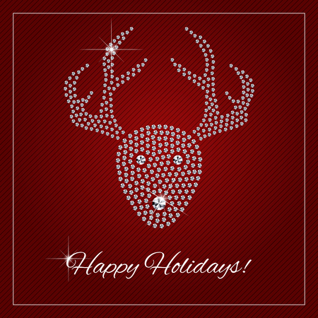 Christmas greeting card, poster. Shimmering diamond luxury Rednosed Reindeer. Template with a glamour design element and a place for your text. Each element is isolated, easy to use in your own design