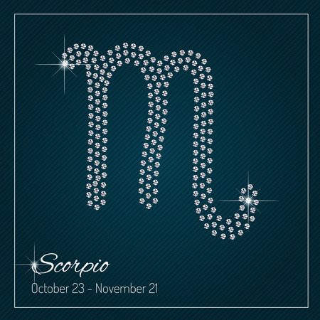Shimmering diamond luxury Zodiac sign, Scorpio. Template with a glamour design element and a place for your text. Isolated high quality concept. Clean, modern and elegant style design.