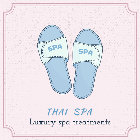 Hand drawn spa, hotel slippers, branding identity elements on grange background. Concept for beauty salon, massage, cosmetic and spa. Isolated high quality vector graphic. Easy to use template. Illustration