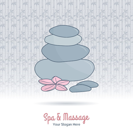 Hand drawn therapy stones and flower. Branding elements on grange background. Concept for beauty salon, massage, cosmetic and spa. Isolated high quality vector graphic. Easy to use business template.