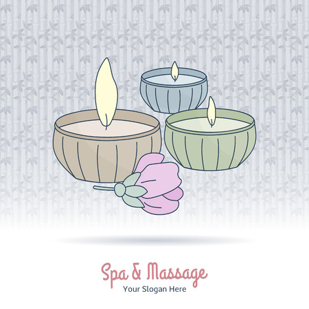 oriental medicine: Hand drawn candles and flower on grange background. Branding identity elements. Concept for beauty salon, massage, cosmetic and spa. Isolated high quality vector graphic. Easy to use business template Illustration