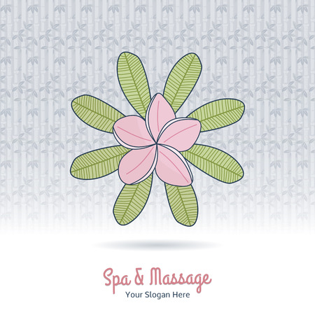 Hand drawn frangipani, plumeria. Branding identity elements, grange background. Concept for beauty salon, massage, cosmetic and spa. Isolated high quality vector graphic. Easy to use business template
