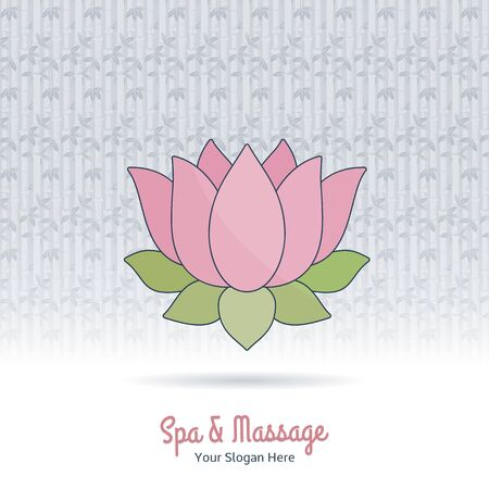 Hand drawn lotus flower. Branding identity design elements, grange background. Concept for beauty salon, massage, cosmetic and spa. Isolated high quality vector graphic. Easy to use business template. Illustration