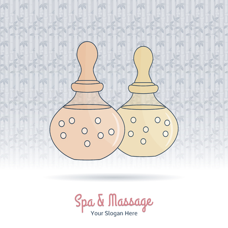 oriental medicine: Hand drawn bottle of spa oil, branding identity elements on grange background. Concept for beauty salon, massage, cosmetic and spa. Isolated high quality vector. Easy to use business template.