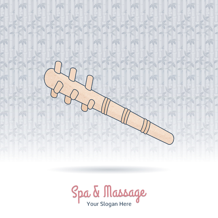 Hand drawn reflexology hand and foot stick. Design elements on grange background. Concept for beauty salon, massage, cosmetic and spa. Isolated high quality vector graphic.