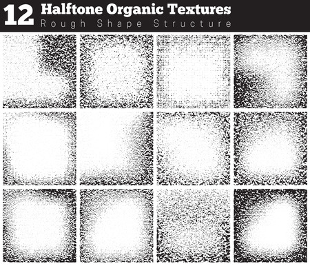 grunge textures: Collection of abstract halftone textures. Grunge halftone vector pattern on white background. Overlay textures. Illustration