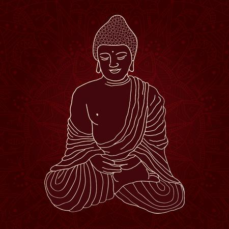 Silhouette di Buddha seduto nella posizione del loto su rotondo ornamentale Mandala su sfondo scuro. disegnata a mano illustrazione vettoriale. Archivio Fotografico - 48648005
