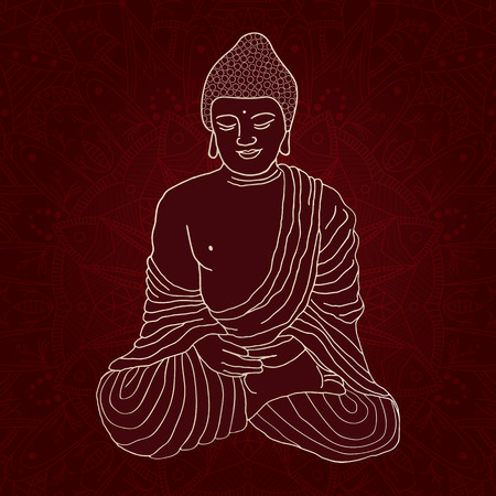 Silhouette of Buddha sitting in lotus position over ornamental round Mandala on dark background. Hand drawn vector illustration.