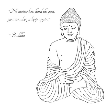 Buddha in mediation. Black outlines isolated on white background with inspirational quotes. Indian, Arabic, Islamic, African, Hindu, Thai, ottoman motifs. Ethnic, tattoo art, spiritual boho design.