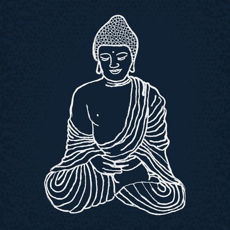 mediation: Buddha in mediation on chalkboard. Indian, Arabic, Islamic, African, Hindu, Thai, ottoman motifs. Ethnic, spiritual boho design. Hand drawn vector illustration.