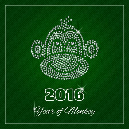 each year: New Year greeting card, poster. Shimmering diamond cute, luxury Monkey 2016. Template with a glamour design element and a place for your text. Each element is isolated, easy to use in your own design.