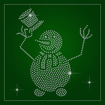 Holiday greeting card or poster. Shimmering cute snowman holding a hat. Template with a glamour design element and a place for your text. Each element is isolated, easy to use in your own design.