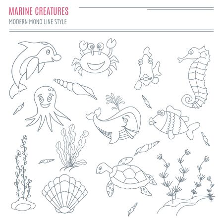 Collection of hand drawn sea creatures in modern mono line style on isolated white background. Cartoon dolphin, crab, fish, sea horse, octopus, shells, seaweed, sea turtle and whale.