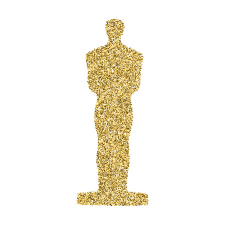 Golden statue confetti glitter icon isolated on white a background. Easy to use and edit graphic design template.