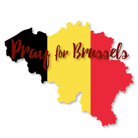 Belgian flag overlaid on detailed outline map with shadow isolated on white background. Flat graphic design. Phrase Pray for Brussels, lettering. with anti terrorism concept.