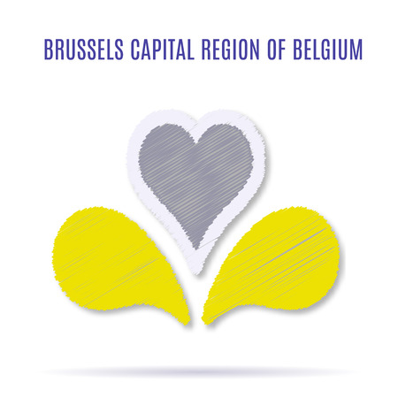 New of Brussels Capital Region of Belgium. Current adopted in 2015. illustration with flat graphic design element with embroidery effect.  イラスト・ベクター素材