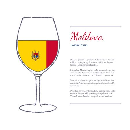 Rough brush stroked wine glass with National flag of Moldova, top wine making country. Graphic design elements isolated on white background. Template with place for your text. illustration.