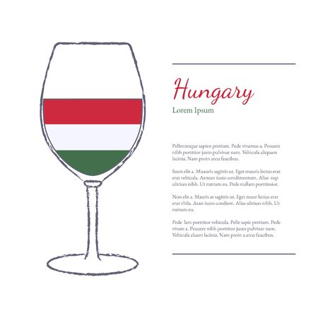 Rough brush stroked wine glass with National flag of Hungary, top wine making country. Graphic design elements isolated on white background. Template with place for your text. illustration.