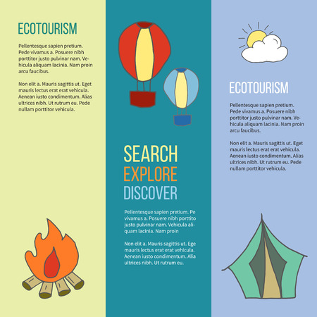 Set of ecotourism posters, with  doodle design elements. Hot air balloon, cloud and sun, bonfire, camping tent. Yellow, green and blue illustration in simple flat style.
