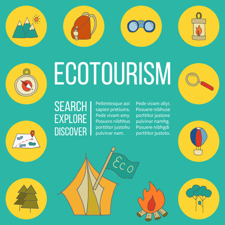 ecotourism: Ecotourism poster template with hand drawn doodle design elements. Mountains tent backpack binocular hot air balloon camping lantern magnifying glass tree bonfire map compass flag. illustration