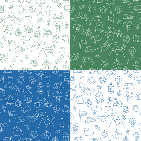 ecotourism: Seamless pattern of  doodle ecotourism design elements. Mountains, binocular, baseball cap, bicycle, magnifying glass, diving snorkel mask, canoe, bonfire, air balloon. illustration.