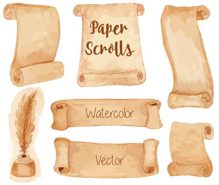 ancient paper: Set of painted watercolor ancient paper scrolls and pen feather in the inkwell. Grunge banners and scrolls. Antique objects, design elements isolated on a white background. Raster illustration. Illustration