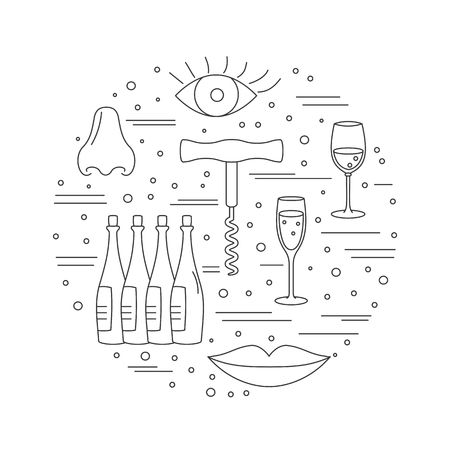 vinification: Round composition with winery symbols. Corkscrew, eye, lips, nose, wine glasses, wine bottles. graphic design elements isolated on white background.