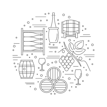 vinification: Round composition with winery symbols. Grapes, oak barrel, wine bottle, wine glass, wine tank, wine storage cellar. graphic design elements isolated on white background.