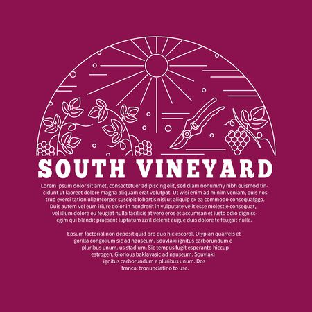 vinification: Winemaking, wine tasting , poster with winery symbols in circle with place for your text. template with winery graphic design elements in mono line style isolated on red background.
