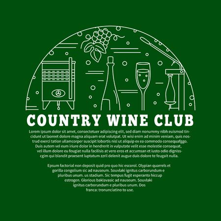 wine tasting: Winemaking, wine tasting , poster with winery symbols in circle with place for your text. Vector template with winery graphic design elements in mono line style isolated on green background.
