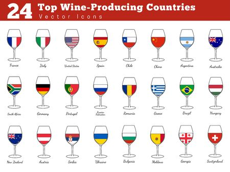 Collection of top wine producing countries pictograms. Wine glasses with national flags with names. Graphic design elements isolated on white background. Colorful flat design style illustration