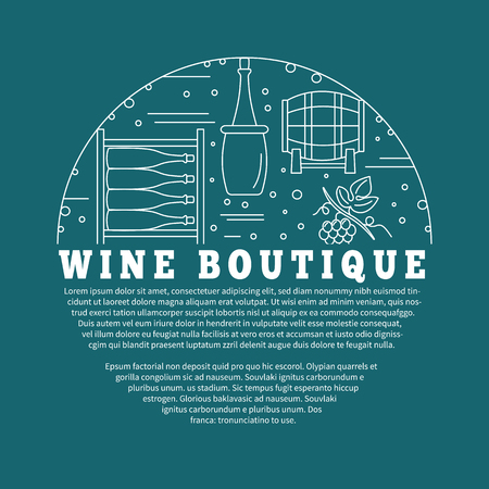 winemaking: Winemaking, wine tasting , poster with winery symbols in circle with place for your text. template with winery graphic design elements in mono line style isolated on blue background.