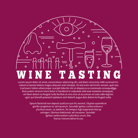 wine tasting: Winemaking, wine tasting , poster with winery symbols in circle with place for your text. template with winery graphic design elements in mono line style isolated on red background.